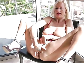 Horny Mom Fucks Herself blonde sex toy fingering