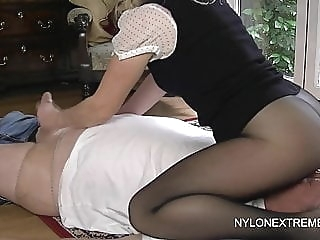 Smothered in pantyhose and nylon handjob handjob stockings femdom