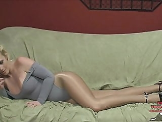 Cumming on Hot Brat in Leotard She Ignores Him cumshot stockings femdom