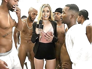 Kali Roses Sucks A Black Football Team blowjob cumshot facial