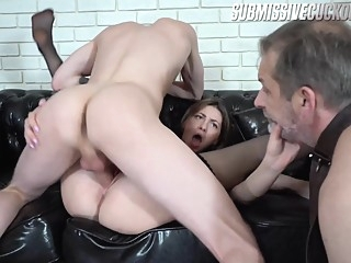 Some Old-Ass Dude On A Leash Is Going To Be Lora's Cuckold Today - SubmissiveCuckolds big ass cuckold face sitting