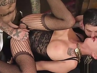 Mistress Lily Lane pegs guy in bi trio big ass big cock big tits