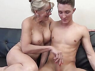 Stunning MILF with Big Boobs Gets Fucked by Teen blowjob cumshot mature