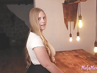 Curvy Maja fucked by pizza delivery boy amateur blonde bbw