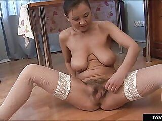 fucking mommy, Svetlana has fun with her hairy pussy fingering hairy mature