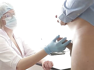 Busty Doctor milking the prostate. Stuck her finger up the ass anal blowjob cumshot