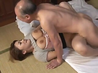 Japanese wife gets fucked by her father-in-law big tits brunette japanese