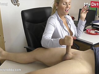 MyDirtyHobby - Busty secretary gives her boss a handjob at the office while smoking amateur babe big cock
