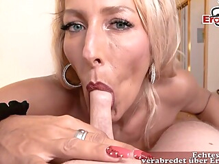 German Blonde Woman With Big, Firm Tits And Tattoos Is Sucking And Riding A Stiff Cock big tits blonde german