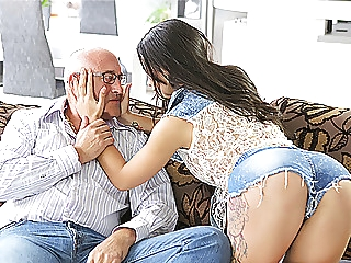 OLD4K. Unsatisfied chick motivated old dad to drill her... dad
