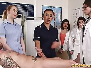 CFNM nurses cocksucking patient in group blowjob handjob femdom