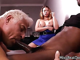 Bisexual Husband Sucks Black Cock for Femdom Wife amateur bdsm bisexual