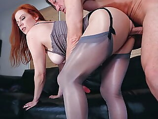 A PantyHose Affair: Lady Olivia & Laz Fyre, Pantyhose Fetish stockings redhead femdom