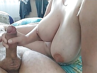 Her Tits shake when she jerks off a cock amateur cumshot tits