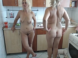 Two slutty lesbian milf seducing in the kitchen big tits blonde masturbation