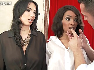 Anissa Kate And Kiki Anal Threesome In Leather Leggings anal big tits brunette